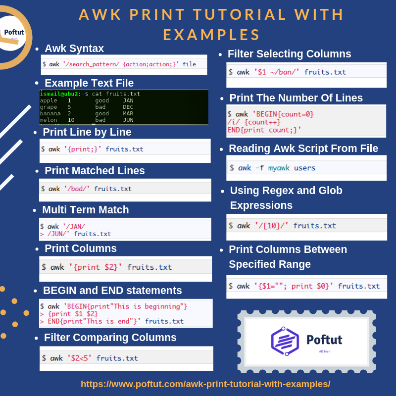 Awk Print Tutorial With Examples Infografic