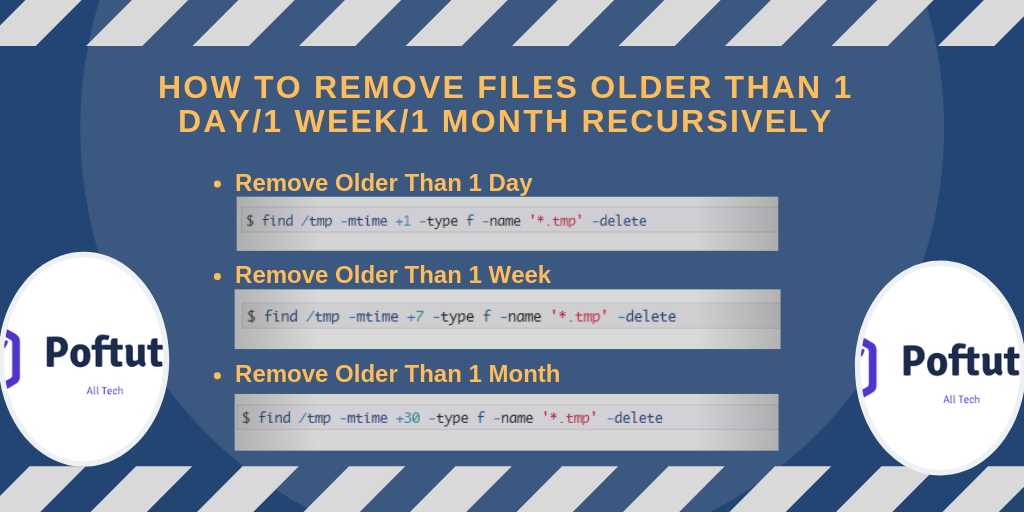 How To Remove Files Older Than 1 Day/1 Week/1 Month Recursively Infografic
