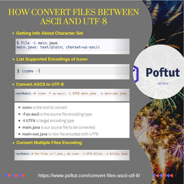 How Convert Files Between Ascii and Utf-8 – POFTUT