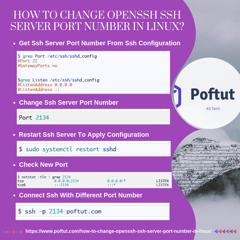 How To Change OpenSSH SSH Server Port Number In Linux? Infografic