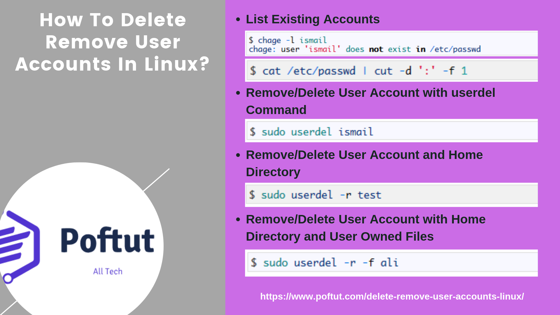 How To Delete Remove User Accounts In Linux? Infografic