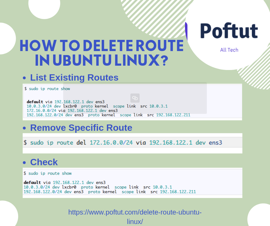 How To Delete Route In Ubuntu Linux? Infografic