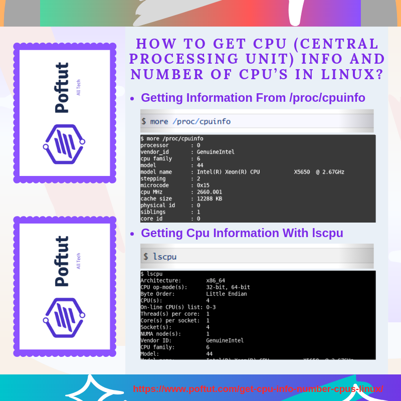 How To Get CPU (Central Processing Unit) Info and Number of CPU's In Linux? Infografic