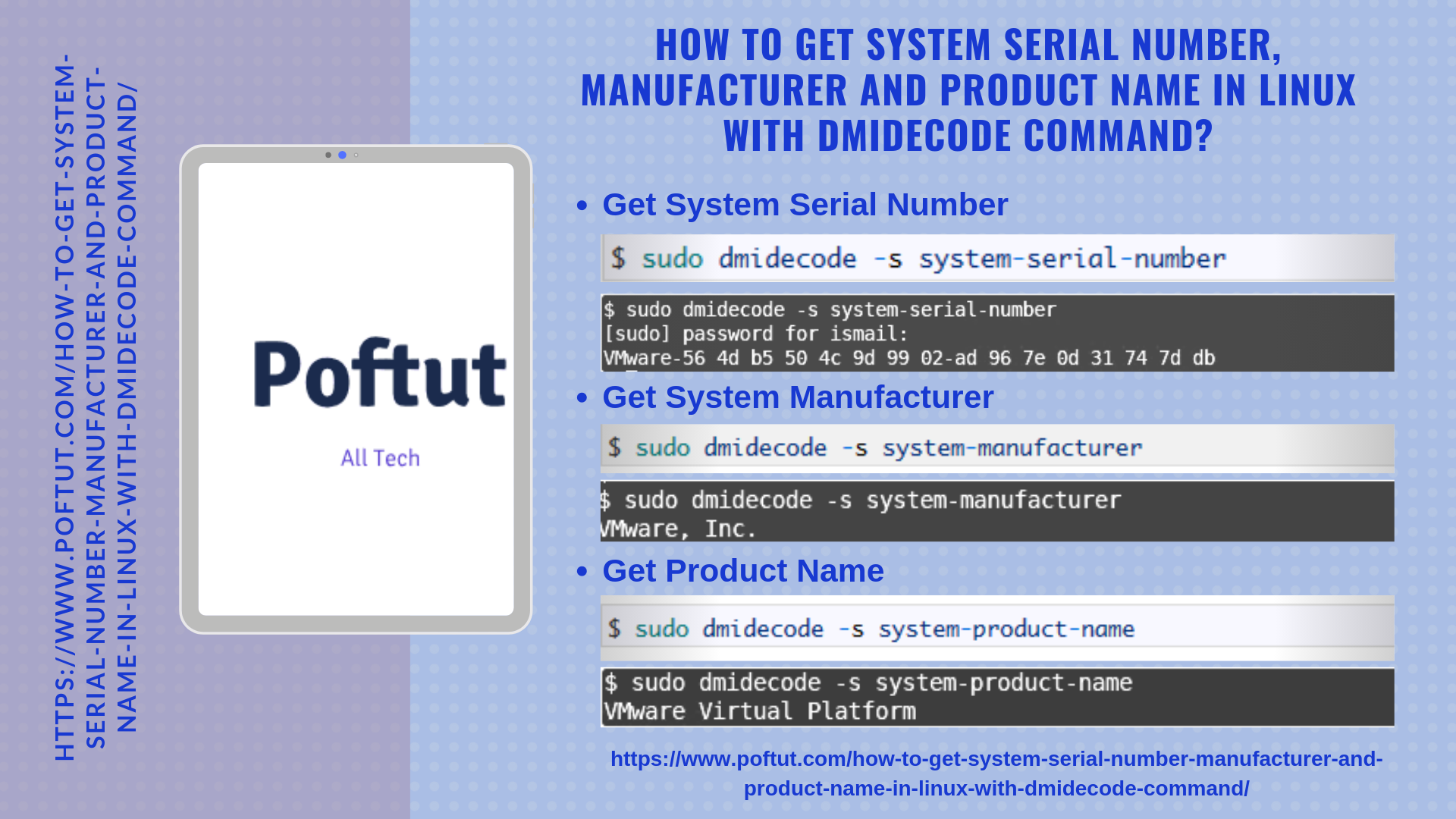 How To Get System Serial Number, Manufacturer and Product Name In Linux with dmidecode Command? Infografic