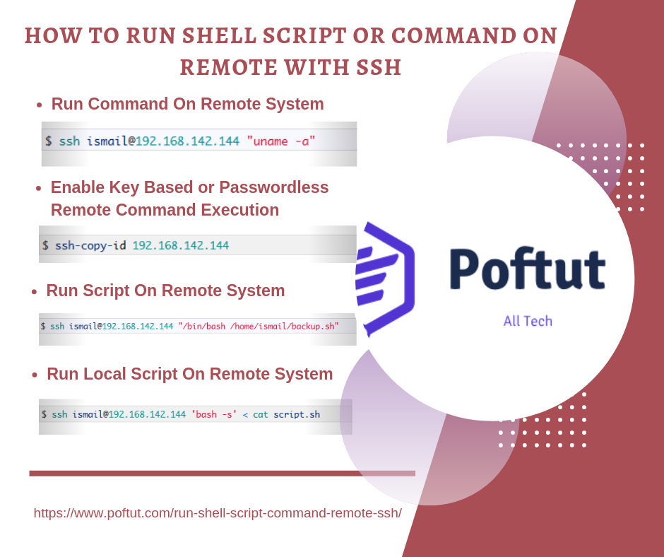 How To Run Shell Script or Command On Remote With SSH Infografic