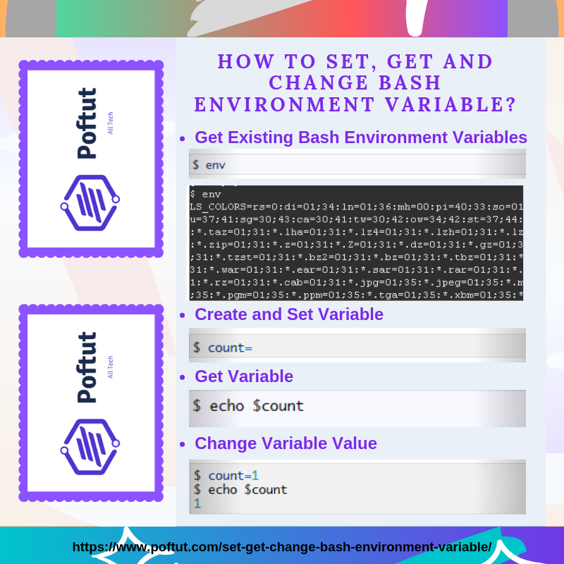 How To Set, Get and Change Bash Environment Variable? Infografic