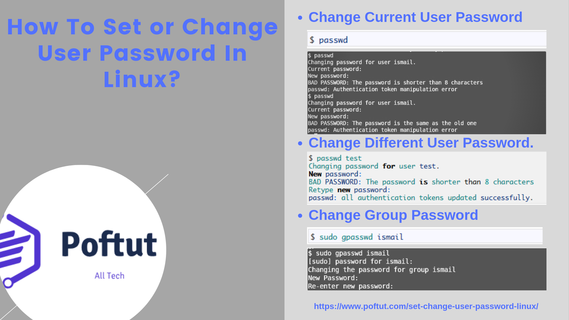 How To Set or Change User Password In Linux? Infografig