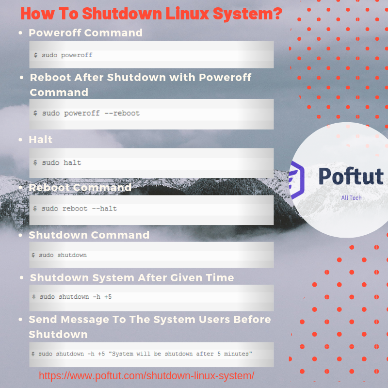 How To Shutdown Linux System Infografic