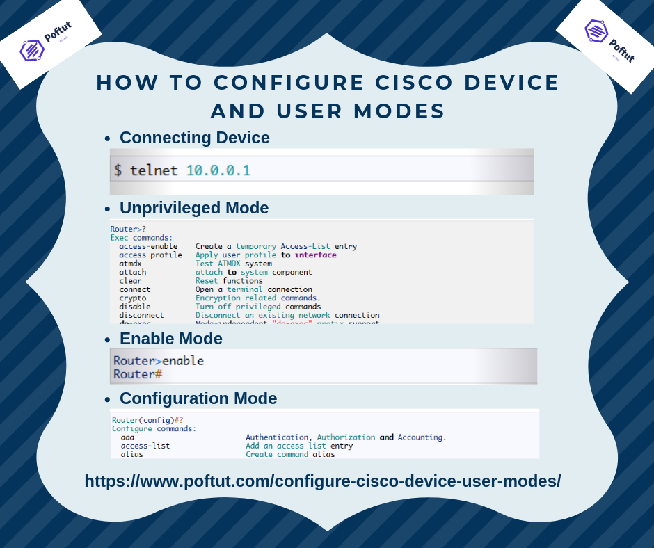 How to Configure Cisco Device and User Modes – POFTUT