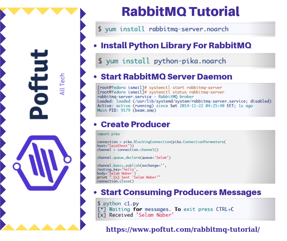 RabbitMQ Tutorial Infographic
