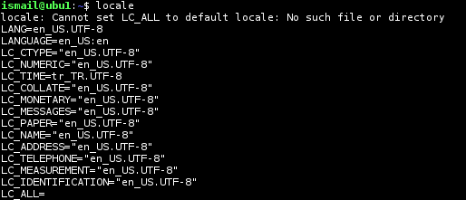 List Current Locale Setting
