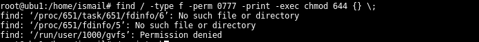 Find Files with Permission 777 and change to 664