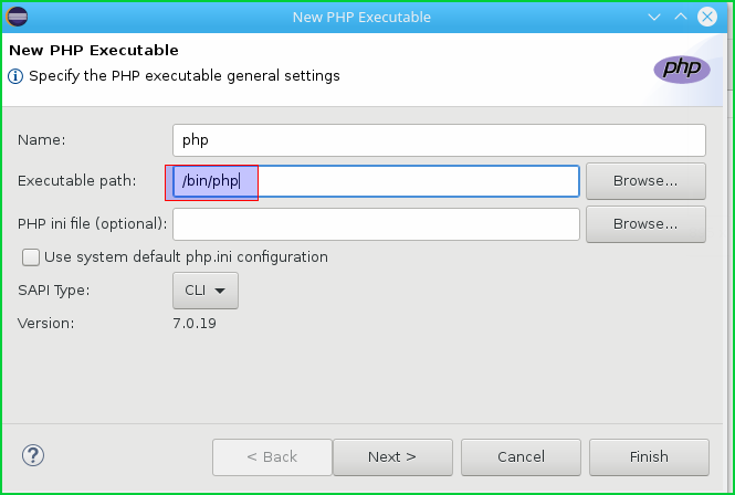 Configure Php Interpreter and Executable