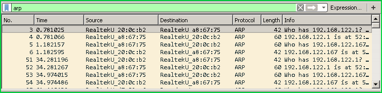Filter ARP Packets