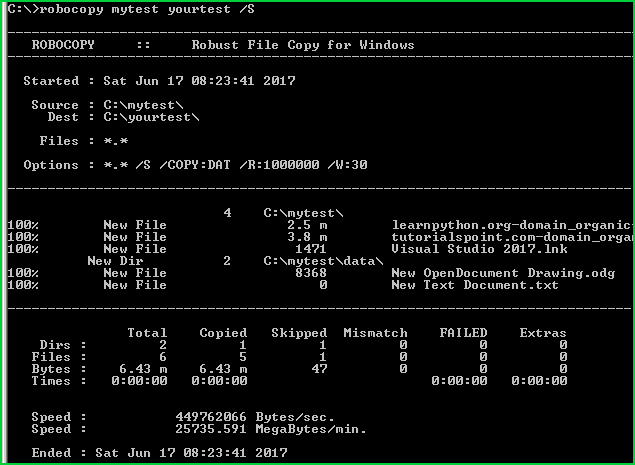 Screenshot of Robocopy script