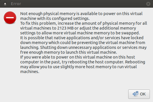 Not Enough Physical Memory Is Available Error