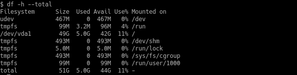 Show Total of The File Systems with df