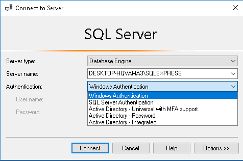 SQL Server Authentication Types
