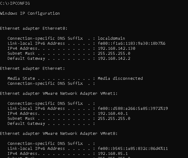 IPCONFIG - List Network Configuration Like IP Address
