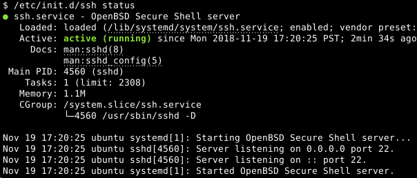 Get Status of Ssh Service