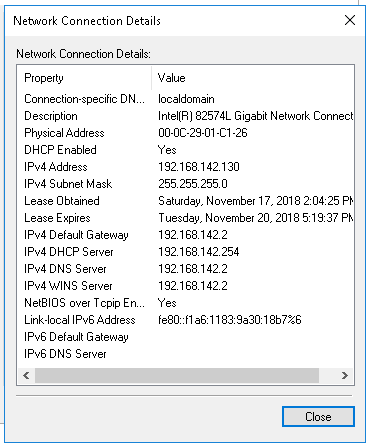 Network Connection Details