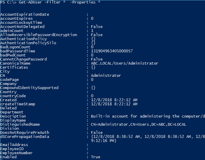 Get-ADUser Powershell Command Tutorial To List Active