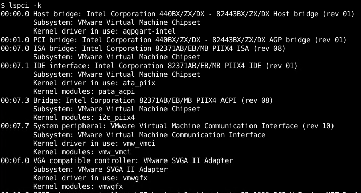 Show Kernel Module Of The PCI Devices