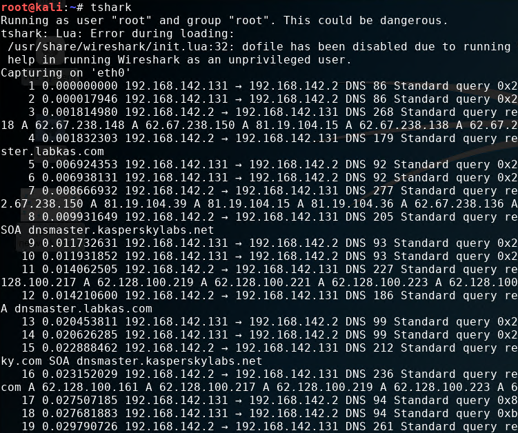 Command Line Support with tshark Tool