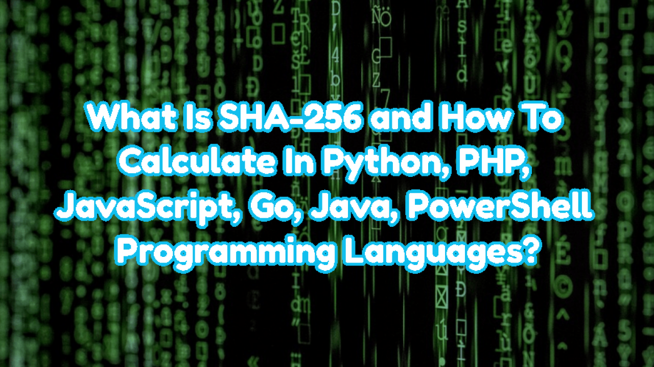 What Is SHA-256 and How To Calculate In Python, PHP