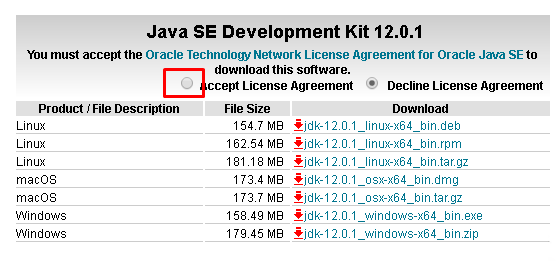 Accept Oracle JDK License