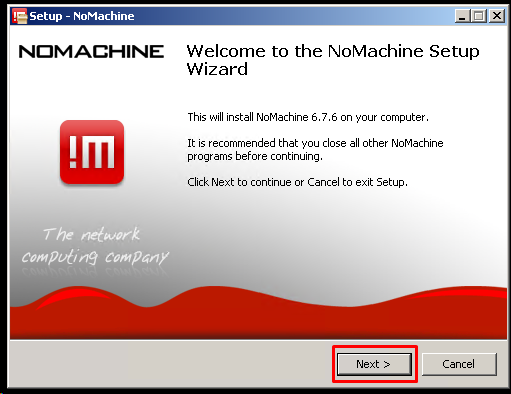 NoMachine Installation Welcome Screen