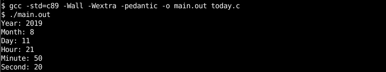 Today Date and Time In C/C++