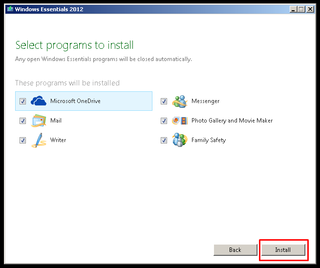 Select Windows Essentials Programs To Install