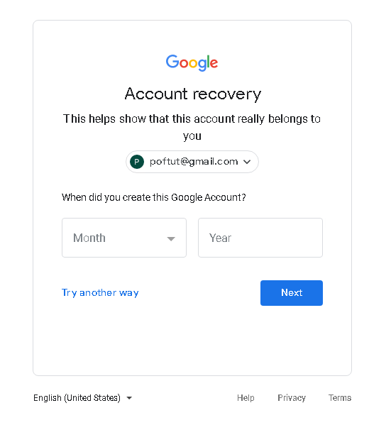 Google Account Recovery with Creation Date