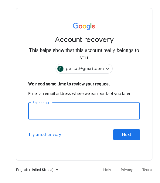 Google Account Recovery with communication email