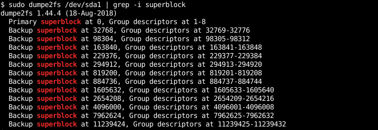 List Super Block and Backups