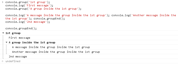 group() , groupEnd() - Group Information