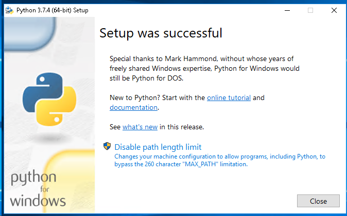 Python Installation Successful