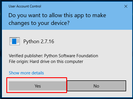 Provide Admin Rights For Python2 Installation