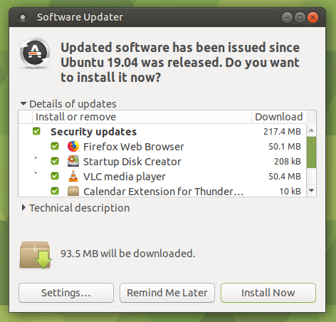 Ubuntu Mate Software Updater