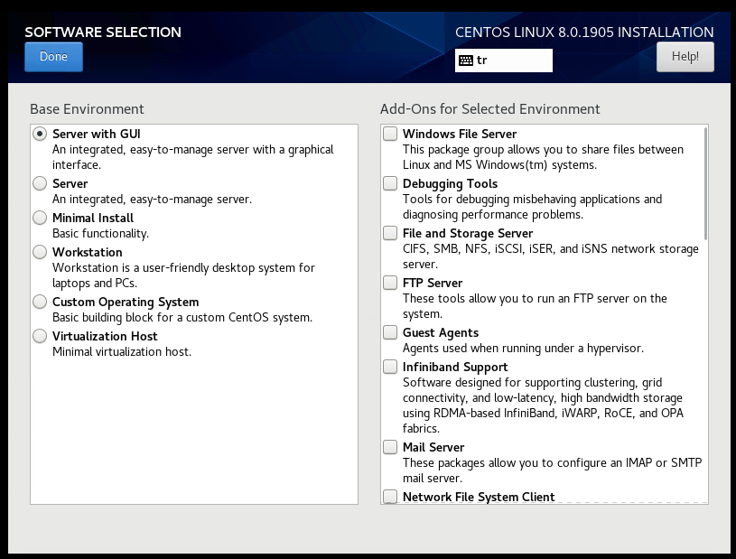 CentOS 8 Install Software Selection