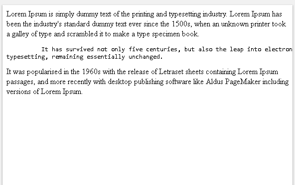Indent with Preformatted HTML Tag