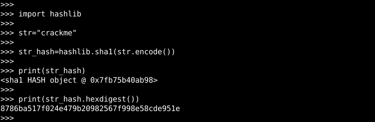 Python SHA1 Usage