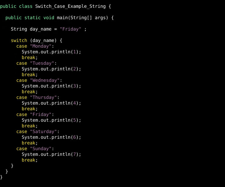 Switch Case String Example