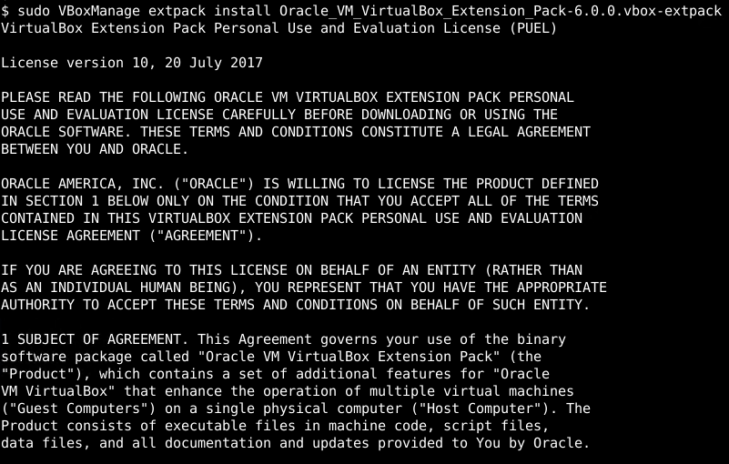 Accept VirtualBox Extension Pack License