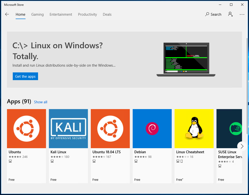 Search Linux Images In Microsoft Store
