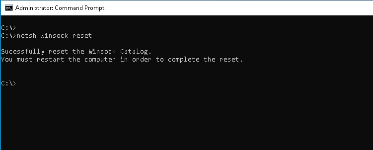 """Reset Winsock with """"netsh winsock reset"""" Command"""