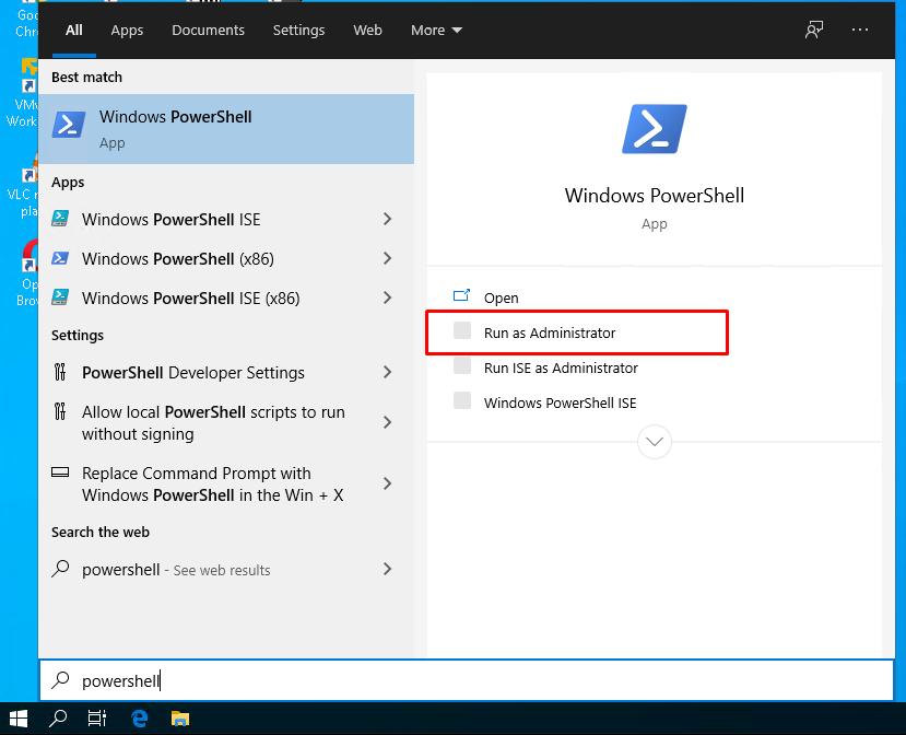 Open PowerShell with Administrator Rights