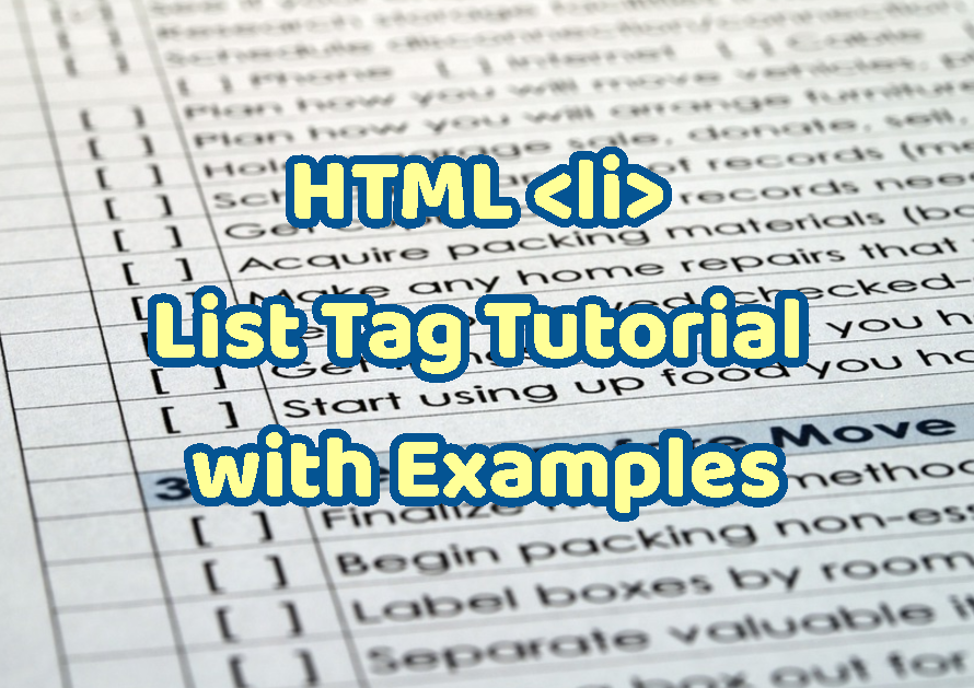 HTML List Tag Tutorial with Examples