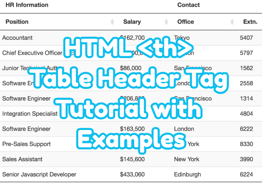 HTML Table Header Tag Tutorial with Examples